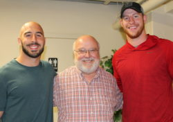 L to R: Eagles safety Chris Maragos, WGM executive director Bob Emberger, and Eagles Quarterback Carson Wentz
