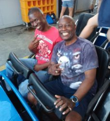 Alton & his dad ride a roller coaster during Alton's recent trip home to spend time with family in NY
