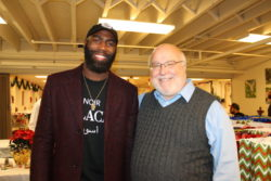 Philadelphia Eagle Malcolm Jenkins with Mission Executive Director Bob Emberger at our Christmas Eve chapel and luncheon