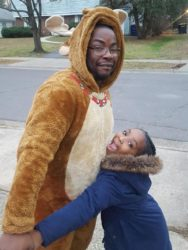 Teeyah finds Hantz's reindeer costume amusing